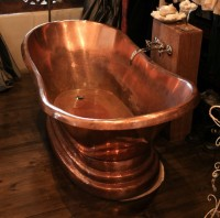 Copper bath St James Showing patination. Installed 2010.