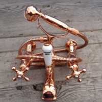 Copper plated mixer with Porcelain divertor, available in brass or copper wall or surface mount