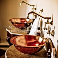 Copper basin and swivel spout, proud, installation