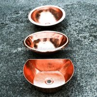 Copper Oval, half moon, and round basins