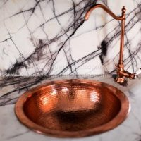 sanware tapware basin copper round hammered